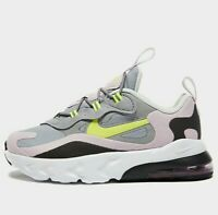 Nike Air Max 270 React Infant ( Size UK 6.5 EUR 23.5 ) Grey / Lemon venom Pink