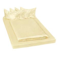 Parure de lit 100% satin polyester housse de couette 200x150 taie oreiller jaune