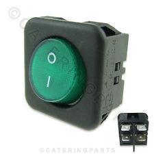 SW40 Negro Y Verde Cuadrados 25mm 230v iluminado en Off interruptor 4 Terminales