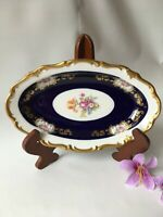 Vtg Reichenbach Echt Kobalt Serving Dish 9 1/8'' L Floral Center Gold Scroll GDR