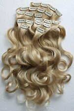 Clip In Hair Extension Set - Bleach Blonde Color Mix & Curled (8 Pack)