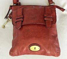 """Rust Brown Leather FOSSIL Cross Body Purse Bag w 50"""" Adjustable Handle 9 Pockets"""