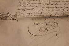 1655 large manuscript parchment document white stamp post medieval signature