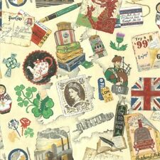 Fat Quarter Vintage UK Emblems Icons Symbols Cotton Quilting Fabric