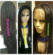 black,  micro braided  lace wig. Neat braids.  With baby hair. Lace Front Wig