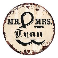CPF-0188 MR. & MRS. TRAN Circle Sign Rustic Tin Bar Home Man Cave Gift