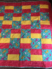 Adorable Cats Rosey Pink and Yellow Baby Quilt
