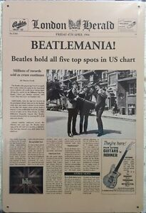 NEW Vintage Style Tin Metal Sign BEATLEMANIA! The Beatles Home Décor Collectors'