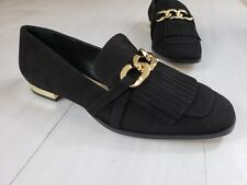 Massimo Dutti Women's Suede Loafers US Size 6.5 Black Leather Shoes Fringe Slip
