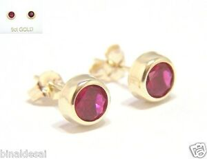 9ct Gold 5mm Small Round Rubover RUBY Studs Earrings Mums B'day Anniversary GIFT