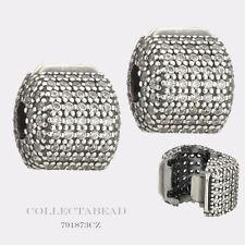 Authentic Pandora Sterling Silver Pave Barrel Clips (2) 791873CZ