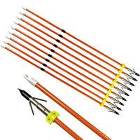 "30"" Bowfishing Arrows Fiberglass Broadheads Points Archery Bow Fishing Hunting"