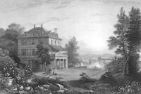 Lake Geneva Switzerland, LORD BYRON VILLA DIODATE ~ Old 1833 Art Print Engraving