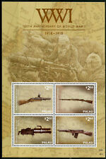 Palau 2014 MNH WWI WW1 World War I Guns Browning 4v M/S Weapons Military Stamps