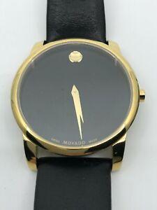 Movado Men's Museum 0606876 Black Leather Swiss Quartz Watch