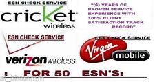 50 ESN CHECK SERVICE FOR VERIZON / CRICKET / VIRGIN (GOOD / BAD / ACTIVE)!!!
