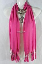 Pink Fashion Jewelry Scarf w Decoration Rhinestone Cross Necklace Pendant