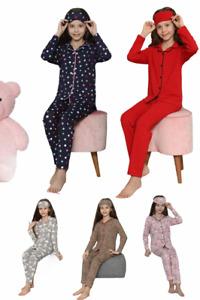 Girls Children Kids Pyjama PJ Set 4-12 yrs Soft Eye Mask Long Sleeve UK BNWT