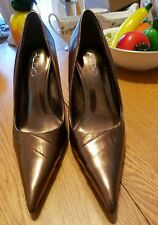 ALDO WOMEN'S BRONZE LEATHER HEELS STILETTOS POINT TOE SHOES SIZE 37 New/other