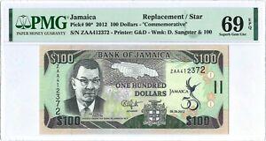 """Jamaica 100 Dollars P90* 2012 PMG69EPQ s/n ZAA412372 """"Replacement"""" Hybrid Comm."""