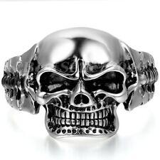 Men Huge Heavy Skull Head Stainless Steel Cuff Bangle Bracelet Halloween Jewelry