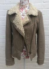 Miss Selfridge Biker Jacket Size 12 Brown Beige Faux Suede Fur Lined Coat