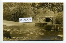 Natick MA Mass RPPC real photo stone arch bridge, mill stones, Town Park , early