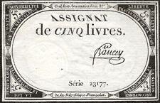 France - Directoire Assignat de 5 livres 10 Brumaire l'an 2 série 23177 Bancey !