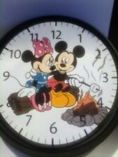 "WALL CLOCK- CAMPING THEME.  Battery operated 9"" Minnie and Mickey Mouse"
