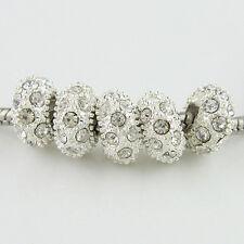 5PCS Czech Crystal Rhinestone Silver Big Hole Spacer European Charm Beads 6x11mm