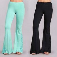 Women Skinny Flared Slim Waist Jeans Long Denim Bottom Stretch High Bell Pants