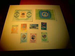 BR513A Antigua Lot of 9 NH Specimens + 2 souvenir sheets(1 has small tear at top