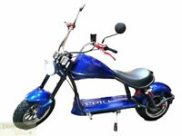 BLUE Electric Scooter 2000W Fat Tire Chopper Harley Style Motorcycle 60V Battery