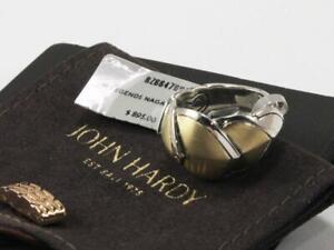 JOHN HARDY LEGENDS NAGA 925 STERLING SILVER & 18K YELLOW GOLD BAND RING Sz US-6
