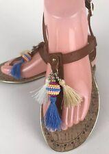 Sam & Libby Womens Flat T-strap Sandals Size 8.5 Brown Embelished Flip Flop Boho
