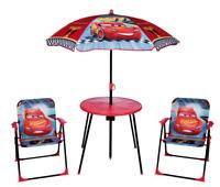 Kids Disney Cars Garden Picnic Chair Table & Parasol Sun Shade Umbrella Set