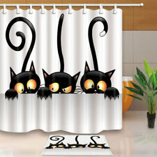 Three Halloween Black Cats Waterproof Fabric Bathroom Shower Curtain & 12 Hooks