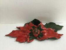 Antique Poinsettia Christmas Candle Holder Cast Iron Signed 1922
