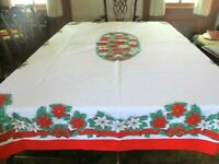 """Vintage Christmas red, wt., green poinsettia/bows cotton 41"""" x 82"""" table cloth"""