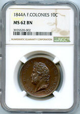 French Colonies Marquesas Islands 10 Centimes 1844 Paris mint NGC MS62 BN