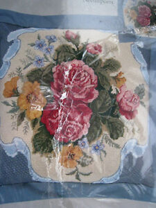Candamar Needlepoint PILLOW/PICTURE Kit,SILK RIBBON AND ROSES,30924,Lucy Wang