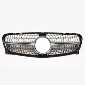 Front Grille Upper Grill for 2014-2016 Mercedes GLA class X156 Silver Diamond am