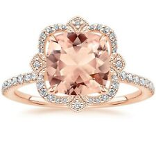 6Ct Cushion Cut Morganite Simlnt Diamond Halo Art Deco Ring Rose Gold Fns Silver