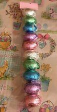 "Foiled Easter Eggs Metallic Ornaments 10 Pc Wreaths Swag Picks Bunny DECOR Lg 3"""