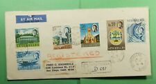 DR WHO 1967 SEYCHELLES VICTORIA REGISTERED AIRMAIL TO USA  f52924
