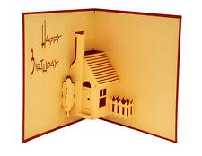 Handmade 3D pop up greeting / gift card - Happy Birthday House 12x12 cm