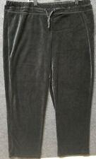 Onque Casuals womens 2x sweatpants black velvet cotton draw string straight leg