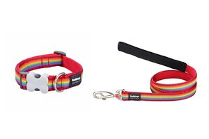 RED DINGO FULLY ADJUSTABLE DOG / PUPPY COLLAR & LEAD RAINBOW RED