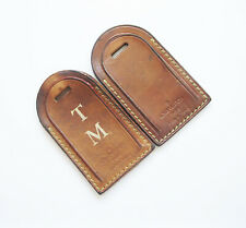 2 AUTHENTIC LOUIS VUITTON VINTAGE MONOGRAMMED LUGGAGE TAG TAN BROWN LEATHER