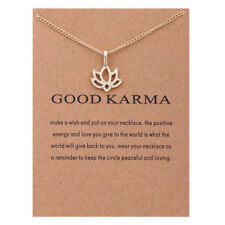 Fashion Gold Color Lotus Flower Pendant Necklace With wish Card lucky jewelry